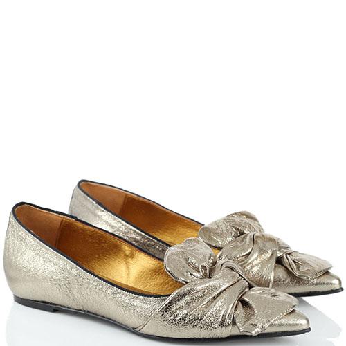 Золотистые туфли Ras из натуральной кожи с крупным бантом, фото