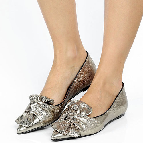 Золотистые туфли Ras из кожи с крупным бантом, фото