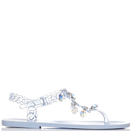 Голубые сандалии Menghi с подвесками-стразами, фото