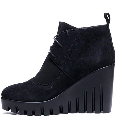 Замшевые ботинки с текстильными вставками черного цвета Modus Vivendi на танкетке, фото