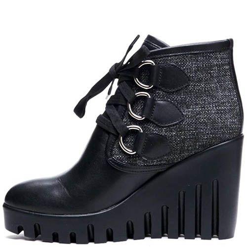 Ботинки из кожи и текстиля черного цвета на шнуровке Modus Vivendi на платформе, фото