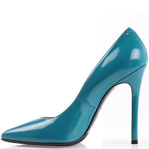 Туфли лодочки Nando Muzi голубого цвета лаковые, фото