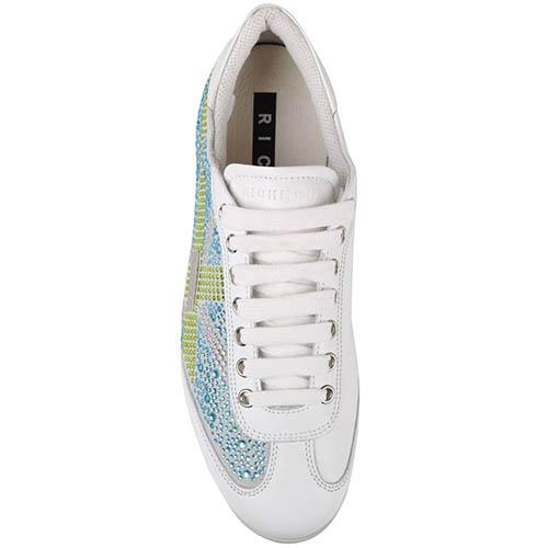 Белые кожаные кроссовки Richmond с зелеными и синими стразами, фото