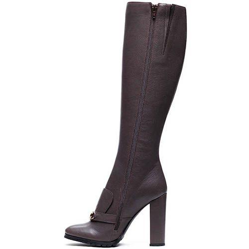 Коричневые кожаные сапоги Modus Vivendi с металлическим декором, фото