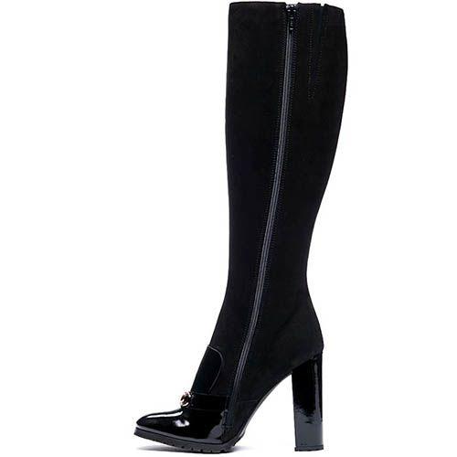 Сапоги из замши и лаковой кожи Modus Vivendi черного цвета, фото