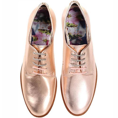 Кожаные оксфорды Ted Baker розового цвета с металлическим блеском, фото