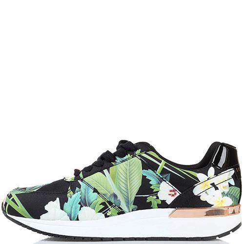 Кроссовки Ted Baker черного цвета с флористическим принтом, фото