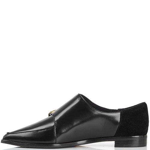 Туфли-монки из полированной кожи Ted Baker черного цвета с замшевой пяточкой, фото