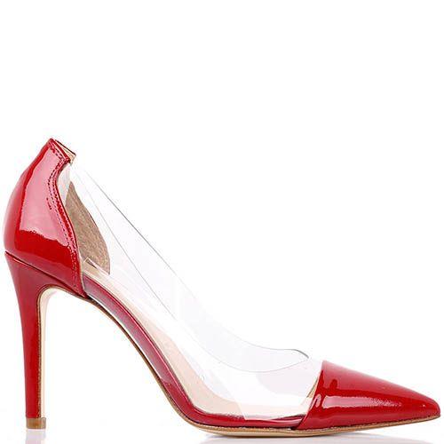 Туфли-лодочки Bianca Di красного цвета из лаковой кожи цвета с силиконовыми прозрачными вставками, фото