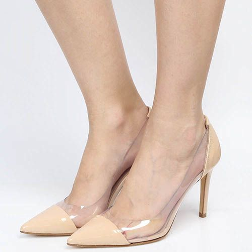 Туфли-лодочки Bianca Di из лаковой кожи бежевого цвета с силиконовыми прозрачными вставками, фото