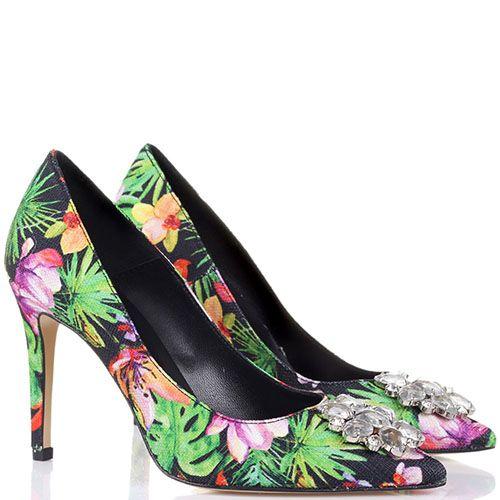 Туфли Bianca Di с флористичным принтом и украшением из крупных камней, фото