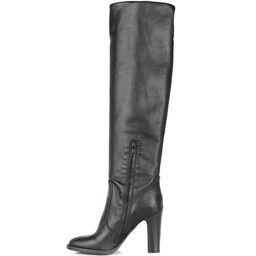 Сапоги Bianca Di черного цвета кожаные с округлым носком, фото