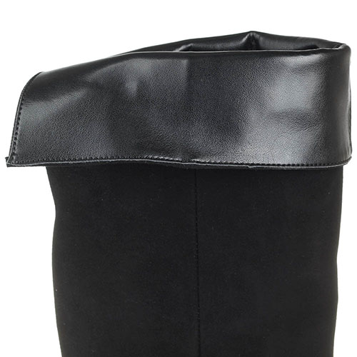 Ботфорты из замши черного цвета Bianca Di с декоративными ремешками, фото