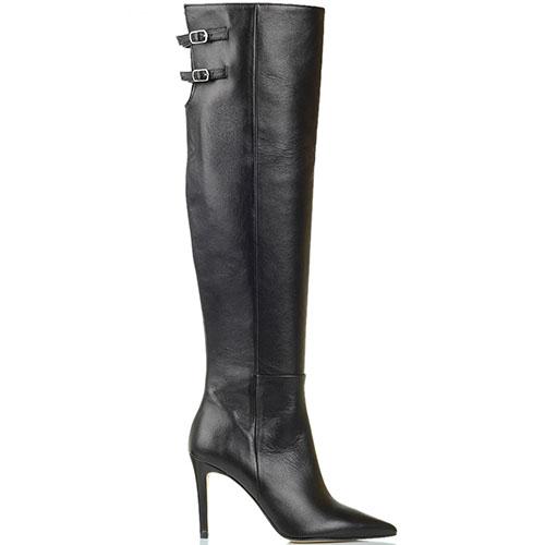 Кожаные ботфорты черного цвета Bianca Di с узким носочком, фото