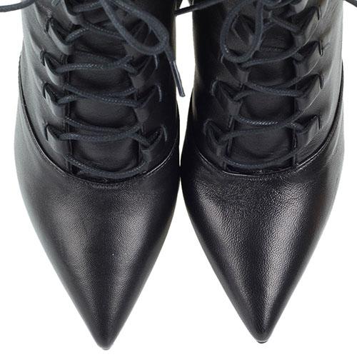 Черные кожаные ботильоны на каблуке Bianca Di на молнии и шнуровке, фото