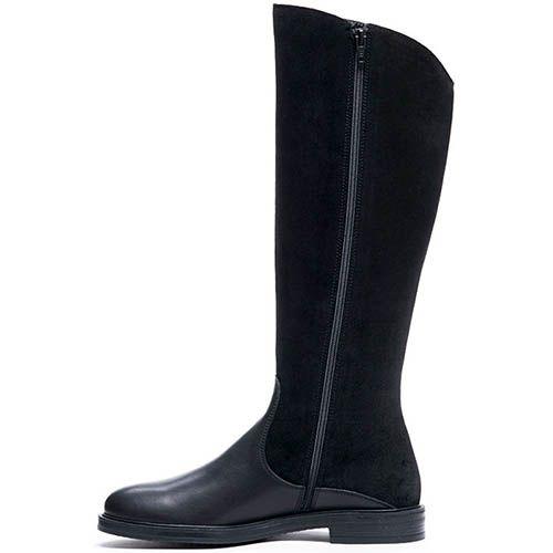 Сапоги из кожи черного цвета на меху Modus Vivendi с замшевым верхом, фото