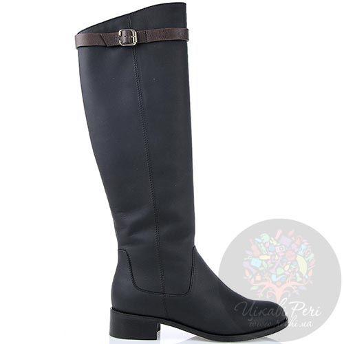 Зимние сапоги Modus Vivendi из кожи черного цвета с коричневым ремешком, фото