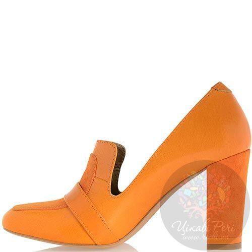 Кожаные туфли Modus Vivendi на среднем каблуке оранжевого цвета, фото