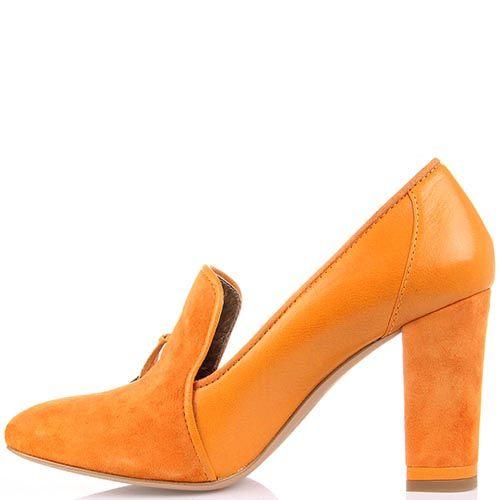 Кожаные туфли Modus Vivendi на среднем каблуке с декоративными завязками, фото