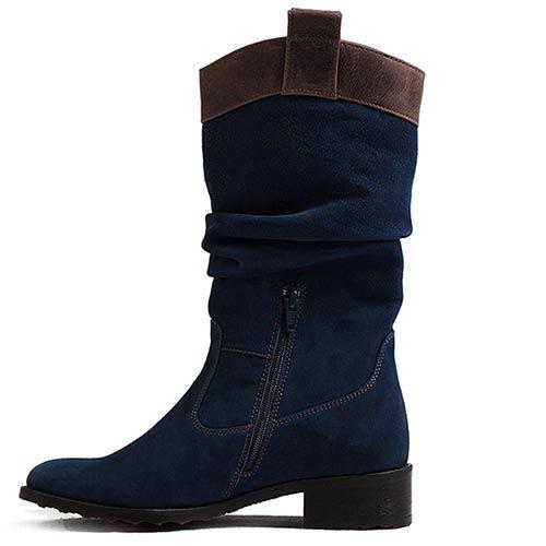Сапоги женские Modus Vivendi темно-синие с коричневой вставкой, фото