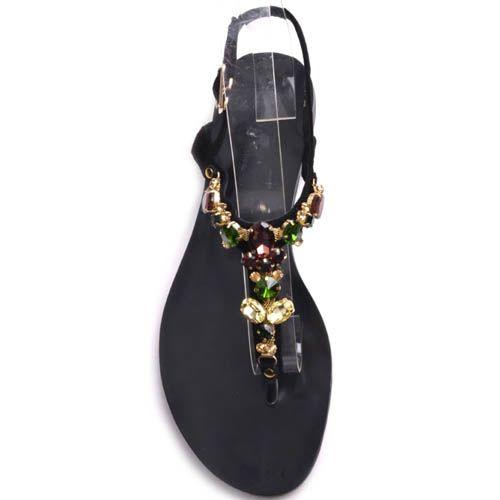 Сандалии Prego черного цвета замшевые с декором в виде круглых цветных камней, фото