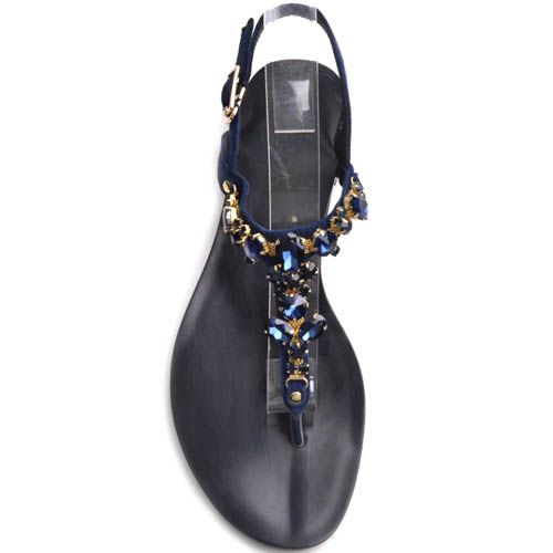 Сандалии Prego синего цвета замшевые с декором в виде синих камней, фото