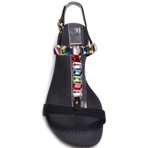 Сандалии Prego черного цвета замшевые с крупними разноцветными камушками, фото