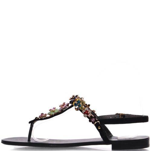 Сандалии Prego черного цвета замшевые с разноцветными цветочками, фото
