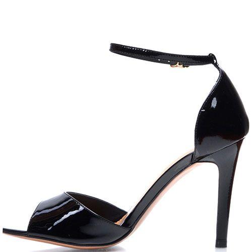 Лаковые босоножки Prego из кожи черного цвета с открытым носочком, фото