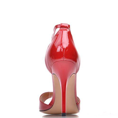 Босоножки Prego из натуральной лаковой кожи красного цвета на высокой шпильке, фото