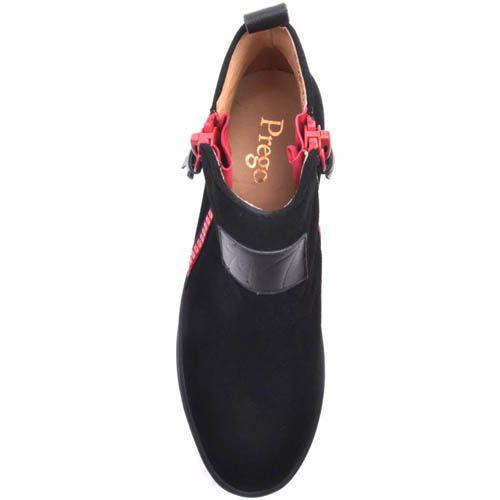 Ботинки Prego черного цвета замшевые на плоском ходу с красными молниями, фото