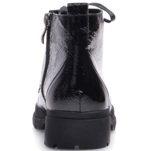 Ботинки Prego лаковые из фактурной кожи с металлическими кольцами для шнурков, фото