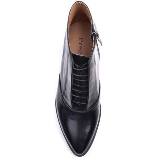Туфли Prego черного цвета с узким носком и скрытой шнуровкой, фото