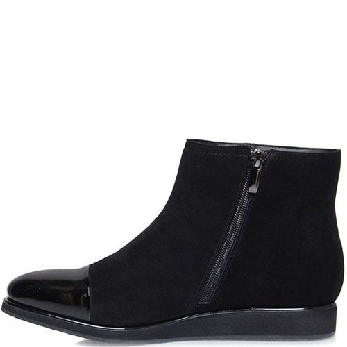 Ботинки Prego из натуральной замши черного цвета с лаковым носочком, фото
