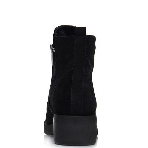 Ботинки Prego из натуральной замши черного цвета с декоративными цепочками, фото