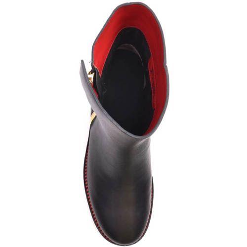 Ботинки Prego из гладкой кожи красные изнутри и с золотистой молнией, фото