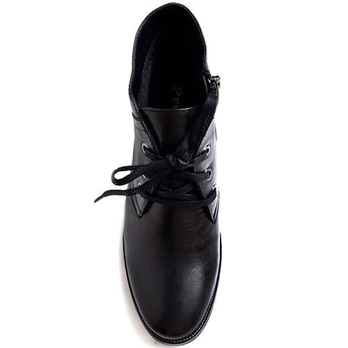 Кожаные ботинки Prego черного цвета на танкетке, фото