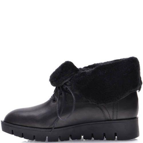 Ботинки Prego зимние с меховым отворотом черного цвета с узким носком, фото