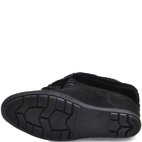 Ботинки Prego зимние с меховым отворотом и со скрытой танкеткой черного цвета, фото