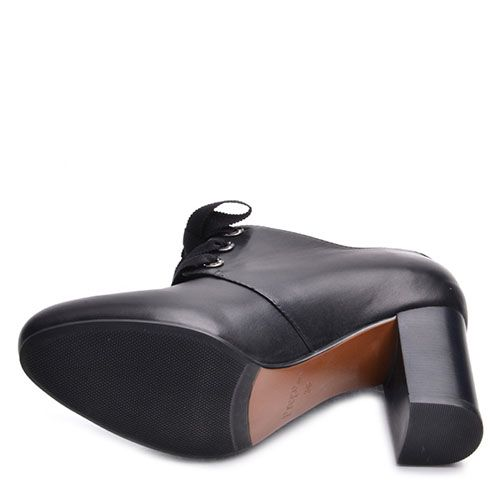 Закрытые туфли Prego из натуральной кожи черного цвета на устойчивом каблуке, фото