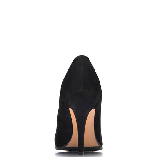 Черные замшевые туфли Prego на шпильке с декором-бантиком, фото
