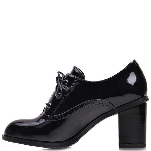 Лаковые туфли Prego из кожи черного цвета на шнуровке, фото