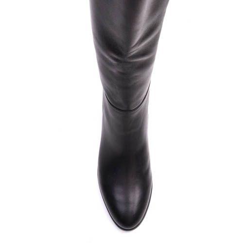 Сапоги Prego осенние черного цвета минималистичные с широким голенищем, фото