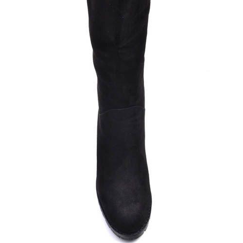 Сапоги Prego зимние на меху из натуральной замши черного цвета с устойчивым каблуком и со вставкой над каблуком, фото