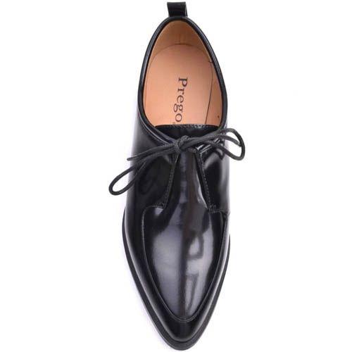 Туфли Prego черного цвета кожаные на плоском ходу с узким носком и тонкими шнурками, фото