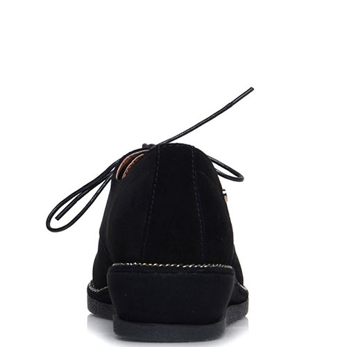 Замшевые туфли Prego черного цвета на танкетке, фото