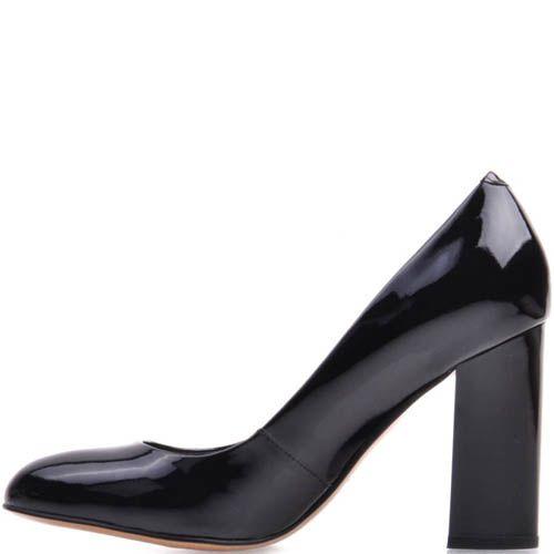 Туфли-лодочки Prego лаковые черного цвета на устойчивом каблуке, фото