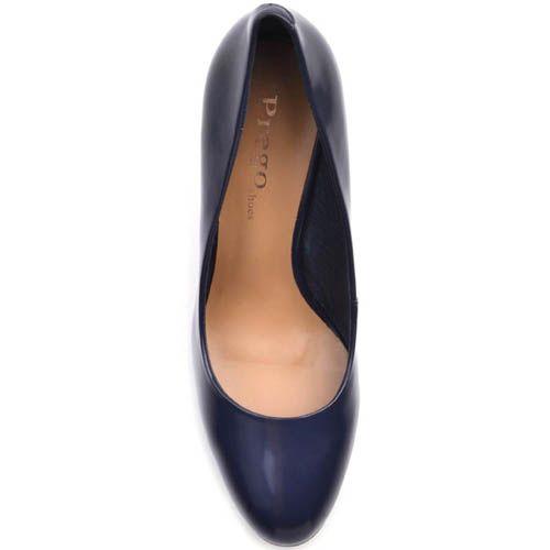 Туфли-лодочки Prego лаковые темно-синего цвета на устойчивом каблуке, фото