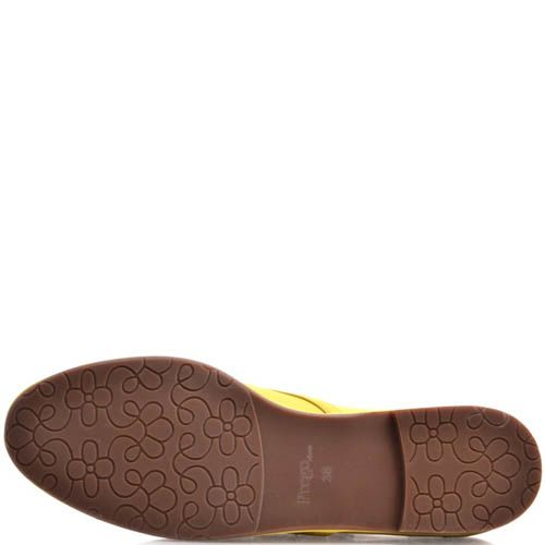Туфли Prego женские желтого цвета кожаные, фото
