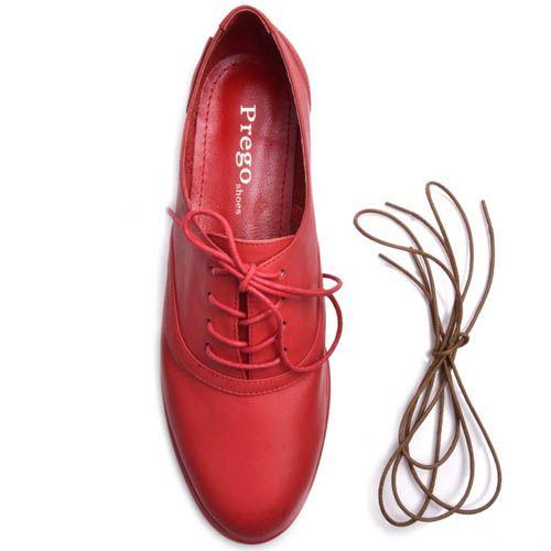 Туфли Prego красного цвета кожаные на шнуровке, фото